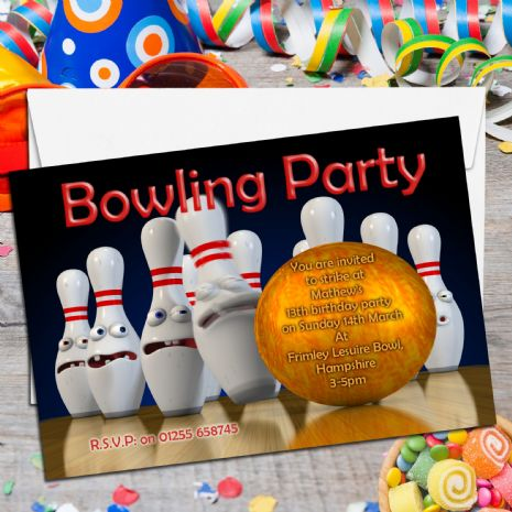 10 Personalised Tenpin Bowling Birthday Party Invitations N2